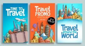 与电视节目预告文本的旅行海报集合传染媒介模板设计 皇族释放例证