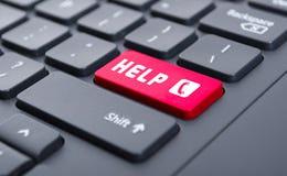 与电话标志按钮的红色帮助在键盘概念 库存图片