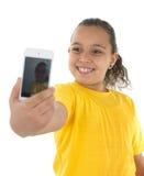 与电话照相机的自画象 库存照片
