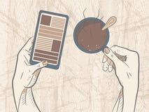 与电话的咖啡休息 向量 免版税图库摄影