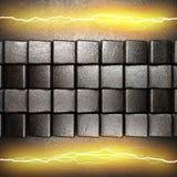 与电闪电的金属背景 图库摄影