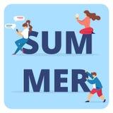 与男人和妇女字符的夏天印刷术 库存例证