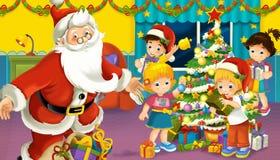 与男孩和女孩的动画片场面在有圣诞老人项目的一间屋子里 库存例证