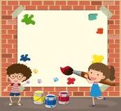 与男孩和女孩绘画的白皮书模板 向量例证