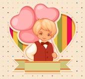 与男孩和气球的生日快乐卡片 免版税库存图片