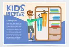 与男孩的卡片垂悬在壁橱的衣裳 哄骗做家庭清洁,家务 清洗他的室的少年 平面 向量例证
