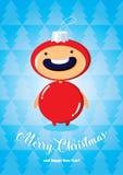 与男孩的圣诞卡冷杉木玩具服装的 免版税库存照片