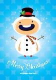 与男孩的圣诞卡雪人服装的 免版税图库摄影