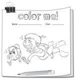 与男孩的着色活页练习题 库存图片