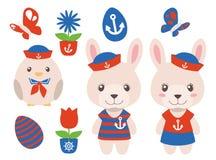 与男性和女性兔宝宝的动画片海复活节图表传染媒介在船舶红色和蓝色衣服的收藏和别致 皇族释放例证