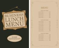 与画框和价格的工作午餐菜单 皇族释放例证