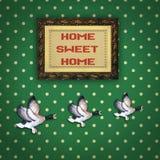 与画框的三只飞行的鸭子 库存图片