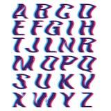 与畸变立体镜作用的小故障字体 免版税库存图片