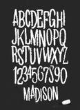 与白垩的字母表图画在黑板传染媒介 图库摄影