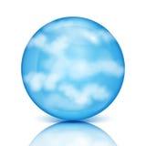 与白色云彩的蓝色球形 免版税库存图片