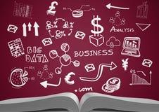 与白色企业乱画和褐红的背景的开放书 向量例证