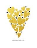 与白色低多样式心脏形状的愉快的情人节爱贺卡在金黄闪烁背景中 向量 免版税库存照片