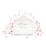 与白色信封,情书例证的情人节明信片 免版税库存图片