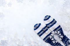 与白色和蓝色镶边手套、枝杈、雪花和拷贝空间的圣诞节白色背景 免版税库存照片