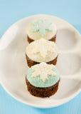 与白色和蓝色雪剥落装饰的圣诞节杯形蛋糕。在 库存照片