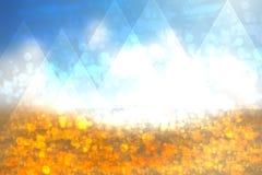 与白色和蓝色l的抽象金黄欢乐背景纹理 库存例证