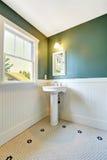 与白色和绿色墙壁修剪的卫生间内部 库存图片