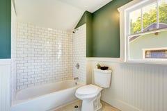 与白色和绿色墙壁修剪的卫生间内部 图库摄影