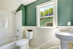 与白色和绿色墙壁修剪的卫生间内部 免版税库存图片