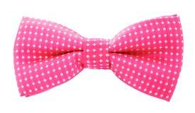 与白色圆点蝶形领结的桃红色 免版税库存图片