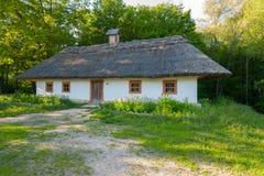 与白色墙壁和一个茅屋顶的一个老地道乌克兰小屋反对一个绿色庭院的背景 库存照片