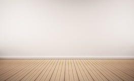 与白色墙壁的橡木地板 库存照片