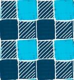 与白色孵化的蓝色正方形 免版税库存图片