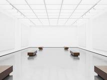 与白色帆布的空的画廊内部 3d 库存照片
