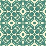 与白色弯曲的圈子的蓝绿色基地设计无缝的样式背景例证 皇族释放例证