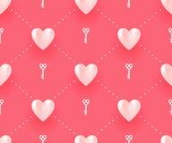 与白色心脏和钥匙的无缝的样式在红色背景为情人节 也corel凹道例证向量 库存照片