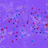 与白色心脏的淡紫色背景仿照速写和明亮的色的小点样式 向量例证