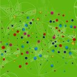与白色心脏的绿色背景仿照速写和明亮的色的小点样式 库存例证