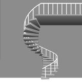 与白色扶手栏杆的被隔绝的圆楼梯在灰色 向量例证