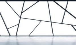 与白色拷贝空间的一个明亮的当代全景空的办公室空间在窗口里 高度专业financ的概念 皇族释放例证