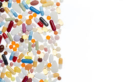 与白色拷贝空间的不同的药片 库存照片