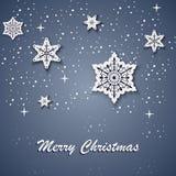 与白色星的圣诞卡在背景 免版税图库摄影