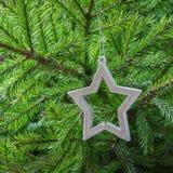 与白色星的圣诞树作为装饰 看板卡例证向量xmas 复制空间 冬天 免版税库存照片