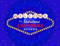 与白色星的拉斯维加斯红色和白色字法在蓝色背景 旅行明信片 皇族释放例证