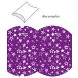 与白色星的紫色箱子模板 免版税库存照片