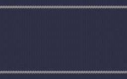与白色条纹的被编织的纹理在蓝色羊毛背景 库存图片