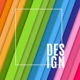 与白色框架和文本设计的抽象横幅在从倾斜的对角条纹的明亮的五颜六色的背景设计元素 皇族释放例证