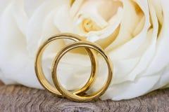 与白色玫瑰的金婚圆环 免版税图库摄影