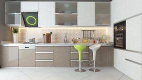 与白色的厨房设计和热奶咖啡上色木家具 免版税库存图片