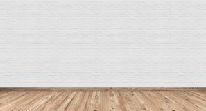 与白色砖墙和木头地板的空的内部 皇族释放例证