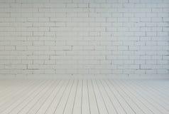 与白色砖墙的空的室内部 库存图片